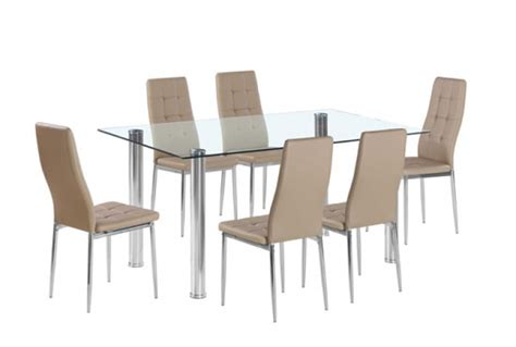 flow rectangular glass dining table 6 taupe chairs