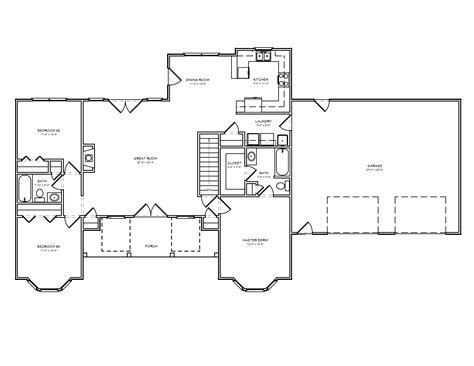 Split Bedroom Floor Plans | traditional country houseplan split bedroom greatroom