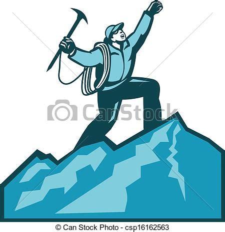 clipart montagna clip vecteur de montagne sommet grimpeur retro