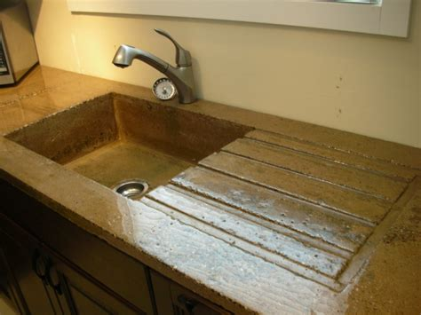 Concrete Countertop With Sink by High Gloss Rustic Concrete Countertop With Built In Sink And Draining Board Modern Vancouver