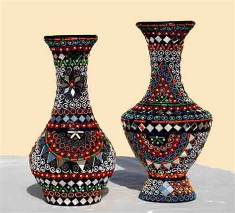 Handmade Flower Vases - handmade flower vases mirror work pair for home decor