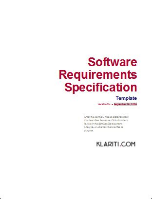Software Requirements Specification Ms Word Template With Use Case Software Requirements Document Template
