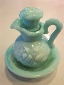 Green Milk Glass Vase Vintage Green Blue Avon Bottle Bud Vase Pitcher Set W