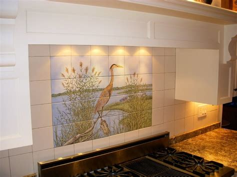 ceramic tile murals for kitchen backsplash quot great blue heron quot kitchen backsplash tile mural