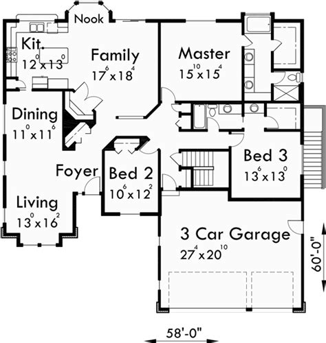 ranch house plan 3 car garage basement storage