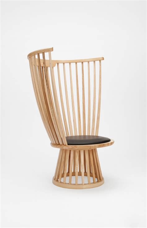 armchair fan fan chair armchair h 112 cm wood leather natural by tom dixon