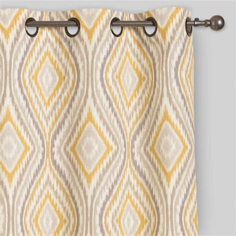 yellow grommet curtains yellow ikat eclipse grommet top curtains set of 2 world