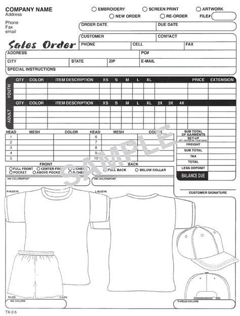 T Shirt Order Form Screen Printing Order Form Template