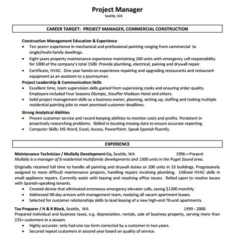 resume exles construction sle construction resume template 11 free documents