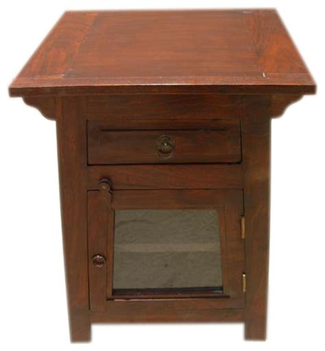 End Table With Door by Solid Wood Nightstand Side End Table Glass Door Shelf