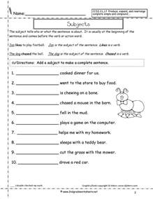 complete subject and complete predicate worksheets
