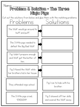 problem and solution reading worksheets the three ninja pigs problem solution worksheet by