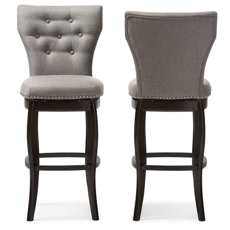 Fabric Upholstered Counter Stools by Baxton Studio Leonice Modern And Grey Fabric