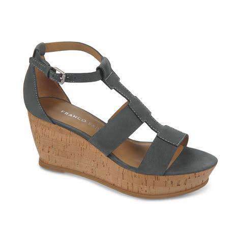 franco sarto sandals franco sarto falco cork wedge sandals in black lyst