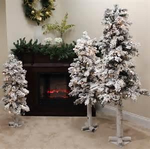 set of 3 pre lit flocked woodland alpine christmas trees 3