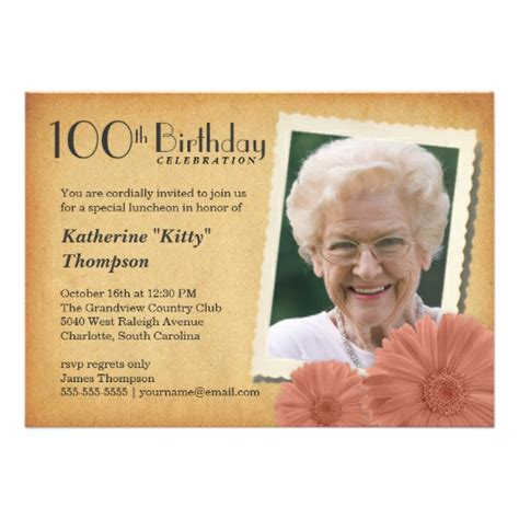 photo invitation template 100th birthday vintage photo invitations 5 quot x 7