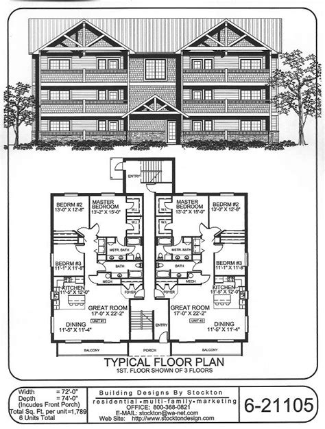 6 unit apartment building plans 6 plex bigger unit 3 bar 72x74 apartment house plan