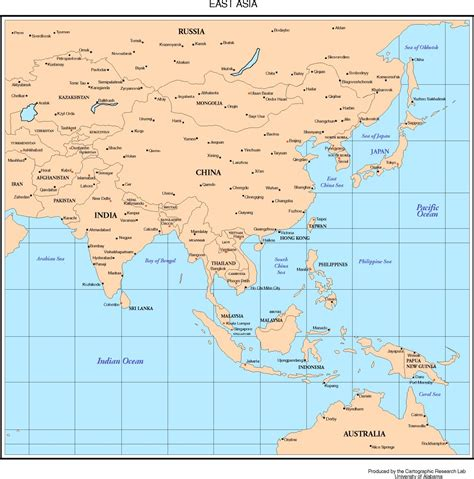asia map with country names and capitals maps of asia
