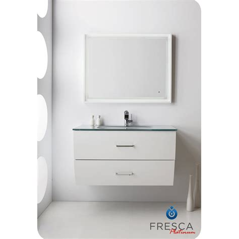 Wave 40 inch Glossy White Modern Bathroom Vanity Wall Mounted