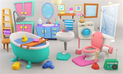 bathroom cartoon pictures cartoon bathroom package 3d asset cgtrader