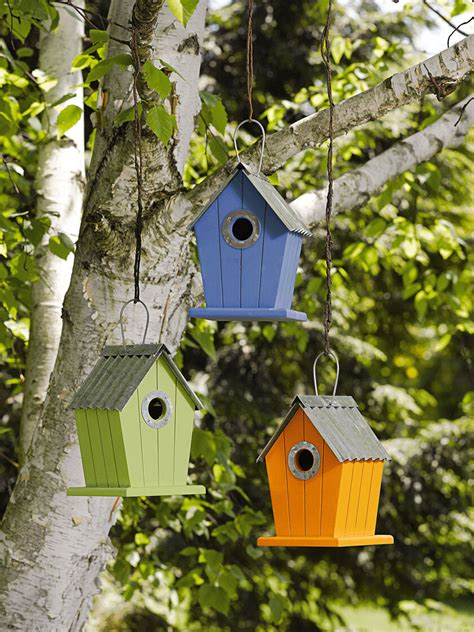 colorful cottage birdhouses set   gardeners supply