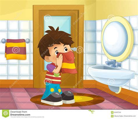 bathroom cartoon pictures cartoon kid in the bathroom boy stock illustration