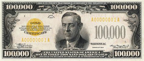 U.s. One Hundred Thousand Dollar Bill - 1934 $100000 Usd ... $100000 Bill