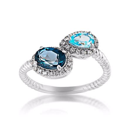 Blue Topaz For blue and swiss blue topaz ring in sterling silver