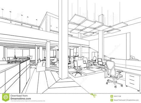 outline sketch of a interior office area stock illustration illustration 43411158