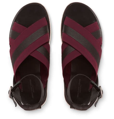 lyst dries noten leather and grosgrain sandals in purple for