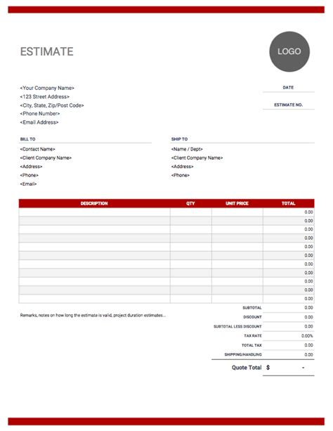 estimate templates  easy  invoice simple
