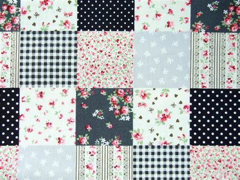 Patchwork Print Fabric - 100 cotton black grey floral spots patchwork squares print