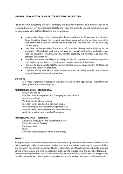 cover letter selection criteria exles noeleen lorna beeton cover letter and selection criteria