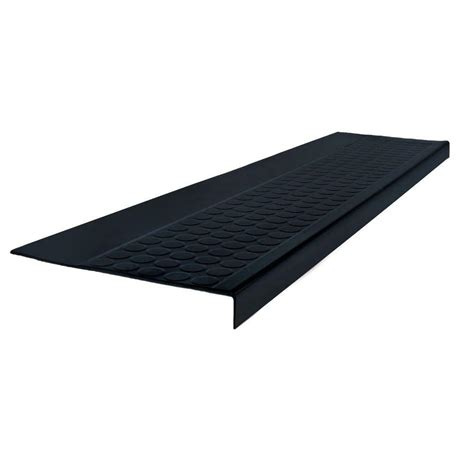 roppe low circular profile black 12 5 in x 72 in rubber square nose stair tread 72921p100