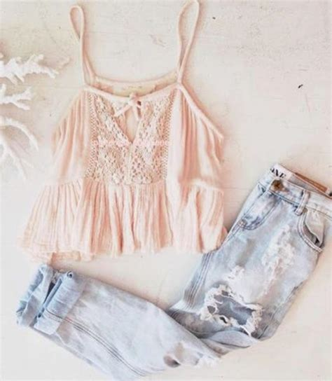 Pastel Blouse Happy Celana Denim blouse light pink lace ripped crop tops