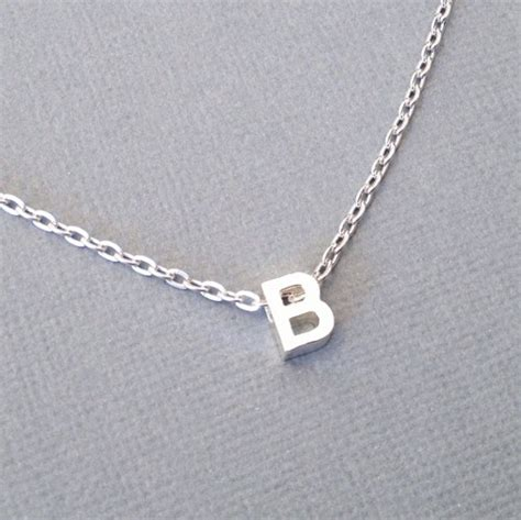 Letter Necklace Silver Letter Necklace Silver Initial Pendant Tiny Block Letter Burntsugar Jewelry On Artfire