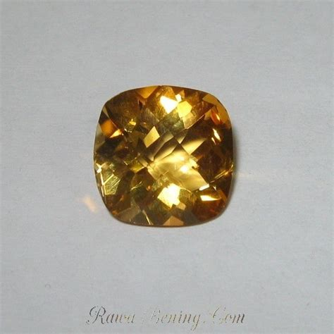 Liontin Wanita Batu Yellow Citrine batu mulia citrine bentuk cushion buff top 3 39 carat