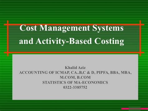 What Are Cost Systems In Mba Program by Abc Costig
