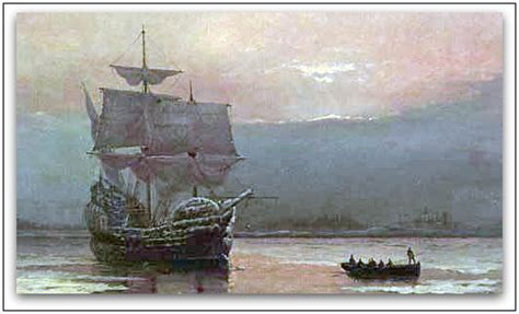 painting plymouth william halsall artist of mayflower in plymouth harbor