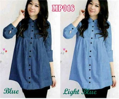 Baju Atasan Kerja Kemeja Biru Garis Blouse Wanita Korea Import Tunik 22 blouse remaja casual denim kemeja kerja wanita modis
