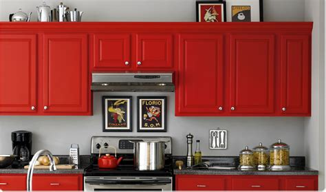 Red Painted Kitchen Cabinets by Create Stunning Space With Red Kitchen Cabinets My