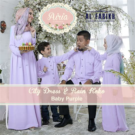 Baju Muslim Baby Newborn city dress baby purple baju muslim gamis modern
