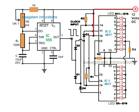 light chaser circuit diagram 18 led light chaser circuit two ic 4017