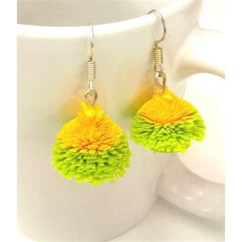 Jhumkas With Paper - quilled green and yellow jhumka quilling inspiration