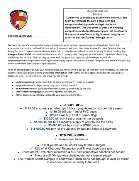 Sle Sponsorship Request Letter For Youth Sports Team Sponsor And Donation Letter Updated
