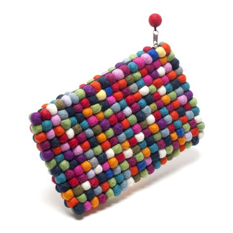 Handmade Clutch - handmade felt multicoloured clutch bag one