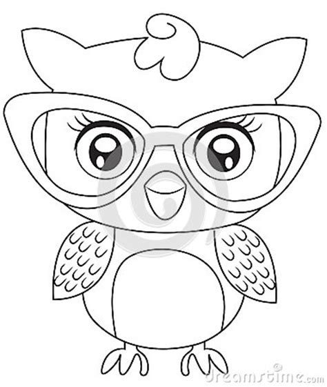 owl reading coloring page owl with eyeglasses coloring page stock illustration