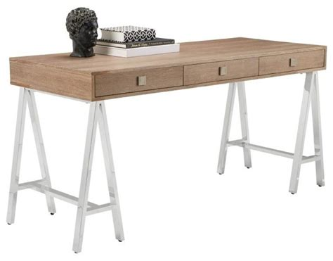 contemporary desk contemporary desk gently distressed oak veneer
