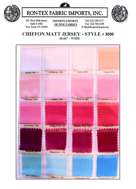 Matt Jersey chiffon matt jersey korea rontex fabric imports inc