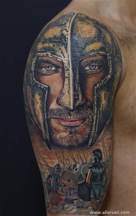 tattoo ali ersari shoulder realistic warrior tattoo by ali ersari